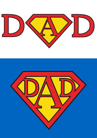 папа: happy fathers day card for superman dad,  background Иллюстрация