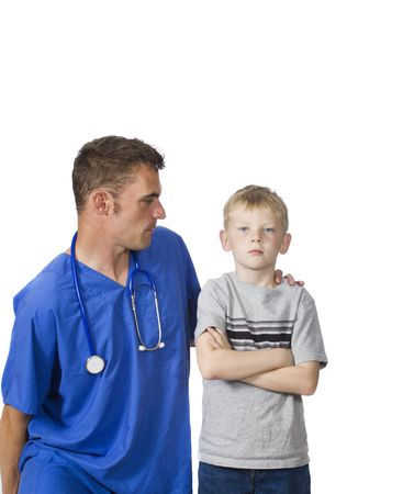 doctor with angry young patient photo