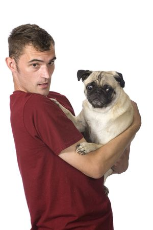 apprehensive: man with scared looking pug dog Stock Photo