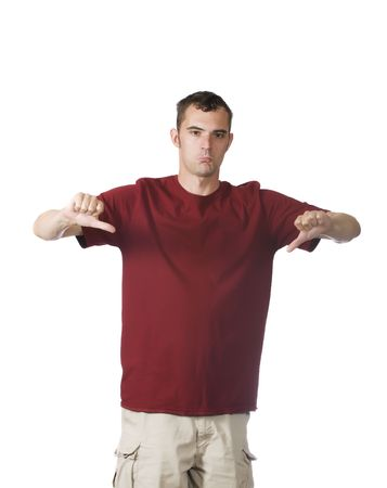 dissatisfaction: man showing thumbs down