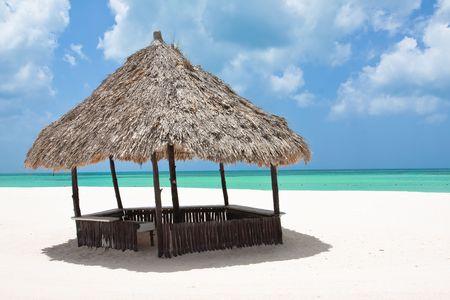 cabane plage: Beach cabane sur la plage mexicaine Banque d'images