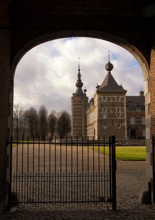 limburg: Eijsden castle in the Dutch province Limburg seen through the entrance gate Editorial