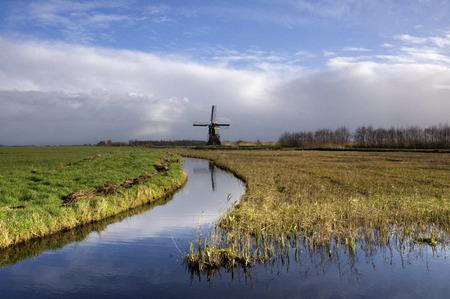 lows: Dutch polder landscape with a windmill in the region Alblasserwaard