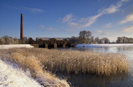 lemmer: The Wouda pumping station in winter mood near the Frisian village Lemmer