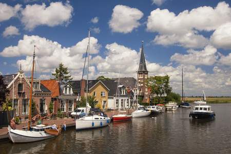 View at the Frisian village Woudsend-which is a very busy water sports village in summer 版權商用圖片