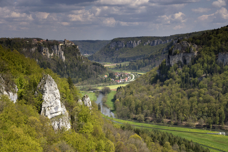 swabian: View at the Danube valley near the German village Irndorf with Werenwag castle in the background Editorial