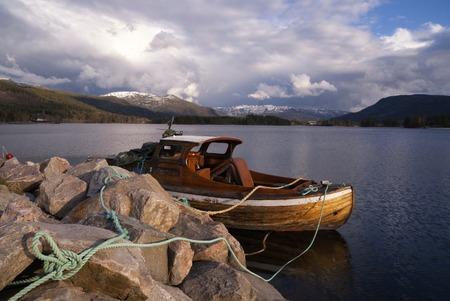 Boat in lake Nisser Archivio Fotografico