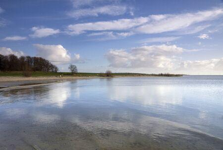 View over lake IJsselmeer 版權商用圖片