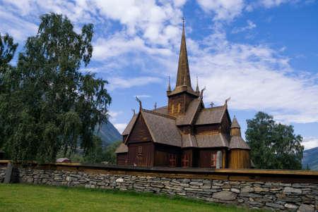 Stave church in Lom Stock fotó