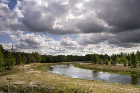The Doorbraak is a newly dug stream in the Dutch region Twente between the Bornse Beek and the river Regge 版權商用圖片
