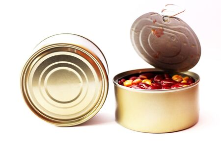 Canned kidney bean with corn isolated on white background. It have two can and one canned open