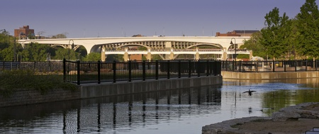 This is the new 35W bridge that replaced the bridge that collapsed in Minneapolis MN recently   A nice panoramic taken from the mill city ruins