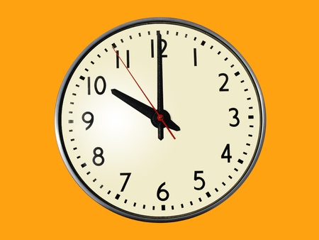 A standard clock, with the time of 10:00 showing   Isolated on an orange background