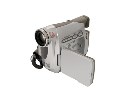 A digital camcorder isolated on a white background