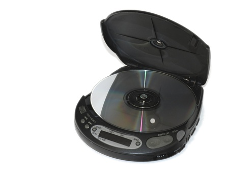 cd player: An old portable CD player with a CD located inside Stock Photo