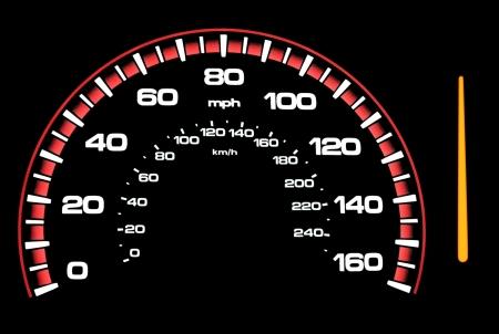 veloc�metro: Un veloc�metro con una aguja aislada Edite la foto para colocar la aguja a la que alguna vez usted desea acelerar