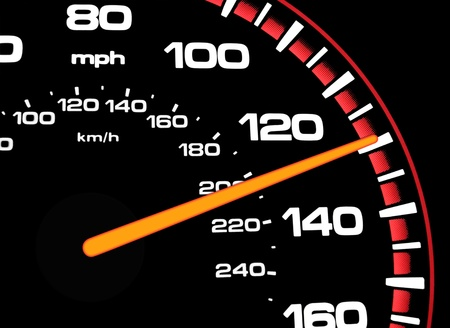 A speedometer showing aproximately 130mph   Speedometer is light for night driving