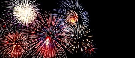 Colorful fireworks, copyspace on the right   Insert your own text   Fireworks displayed in woodbury MN  Stock Photo