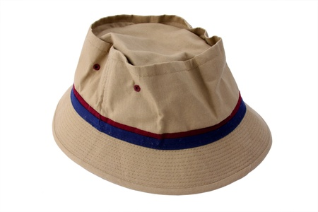A wide brimmed canvas fishing hat that is slightly crinkled isolated on a white background  Stock Photo