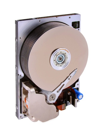 An opened hard disk drive with 9 platters isolated on a white background   Image is is shot angle left  Rare to see this many platters in a hard drive  Editorial