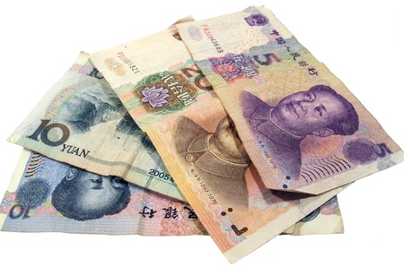 Chinese  Renminbi isolated on a white background Stock Photo - 12953492