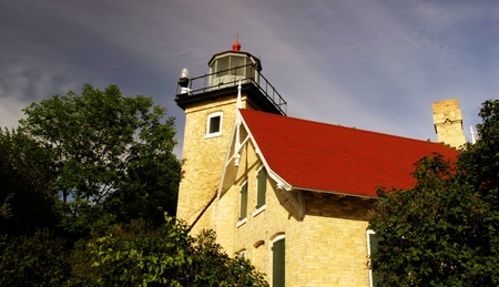 A light house located in Door County on Lake Michigan Stock Photo