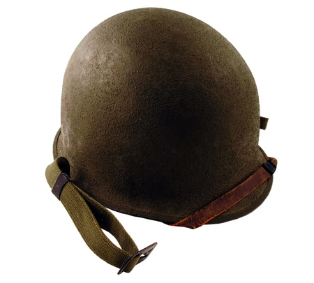 A world war 2 era American soldier helmet isolated on white     Stock Photo