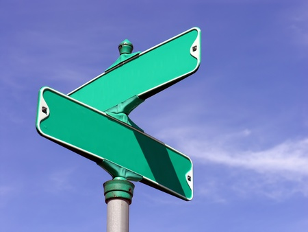A blank Intersection Sign on a blue sky Stock Photo - 12953042