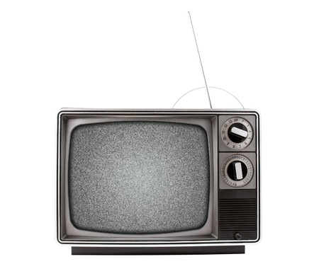 An old retro television with a bad signal, represented by analog snow   Has both a UHF and VHF antenna   TV is isolated on a white background,  Stock Photo