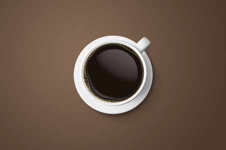white coffee cup and hot espresso coffee isolate on brown background, top view with copy space