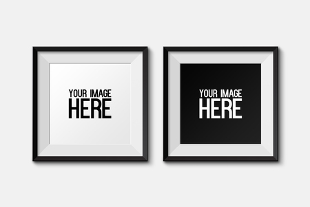 Realistic square picture frame isolated on white background.