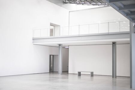 Blank white empty modern art gallery hall, open space 版權商用圖片