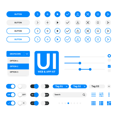 UI kit web & application blue template