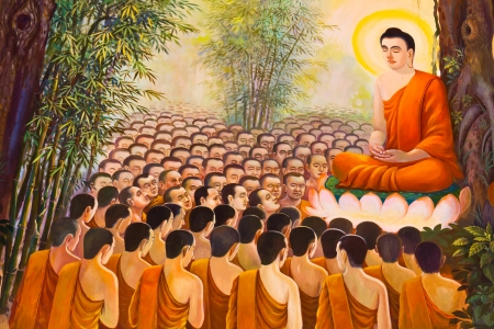 buddha image: Mural Buddhist religion painting on wall in the temple  Editorial