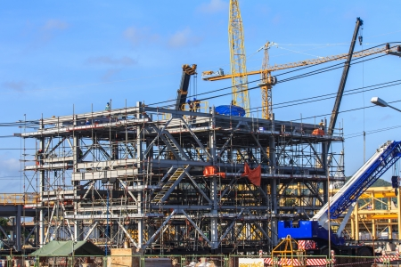 modernization: Construction Site with Cranes in seaport cargo