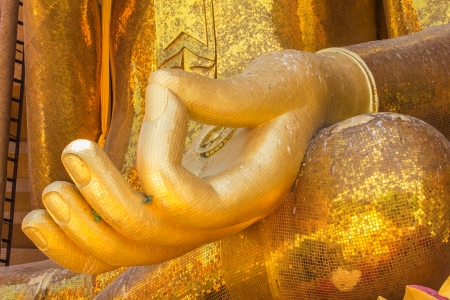 A view of Hand buddha statue Wat Tham Sua Tiger Cave Temple , Kanchanburi, Thailand  photo