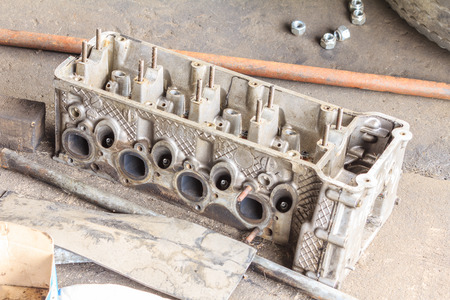 disassembly: Cylinder head after disassembly engine.