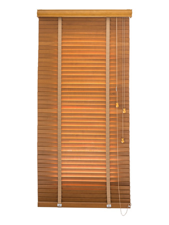 wood blinds: Wood blinds closed in the window on white background.