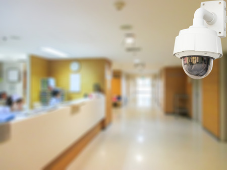 hospital interior: CCTV system security in working room of hospital blur background. Stock Photo