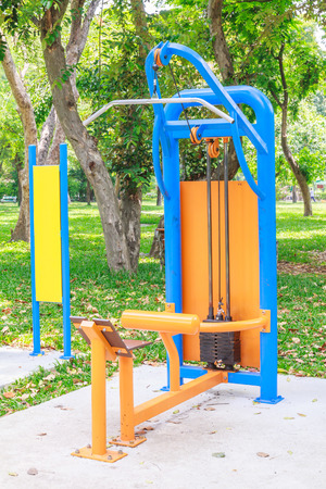 sward: Exercise equipment in nature park. Stock Photo