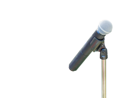 microfono antiguo: Closeup of old microphone on white background.