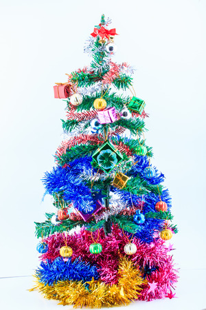 Christmas tree and gift with filter effect. Standard-Bild