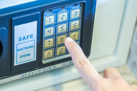 Finger press key digital open white safe cabinet for keep treasure.