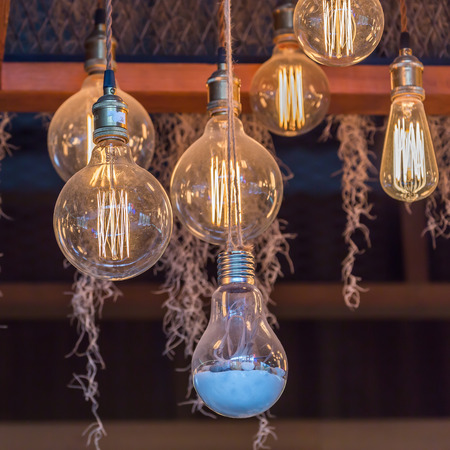 Antique bulbs decorative hang on ceiling vintage style. Standard-Bild