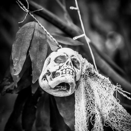 Ghost decorations for Halloween, filter B&W.