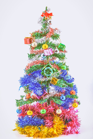Christmas tree and gifts with filter effect.
