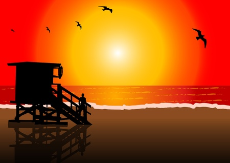 A Vector illustration of a lifeguard hut in a beach at sunset