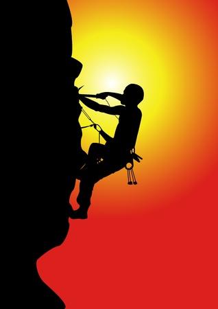 A Vector illustration of a man climbing high mountain as a symbol of spirit
