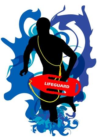 helpers: Una ilustraci�n vectorial de un socorrista de guardia en el fondo de agua resumen