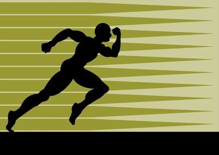 fast forward: A Vector illustration of a man running fast to pursue his goal